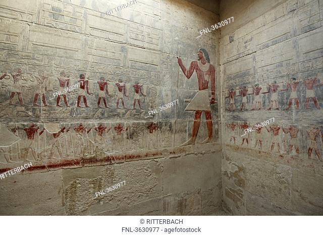 Murals in the mastaba of Kagemni, Saqqara, Egypt