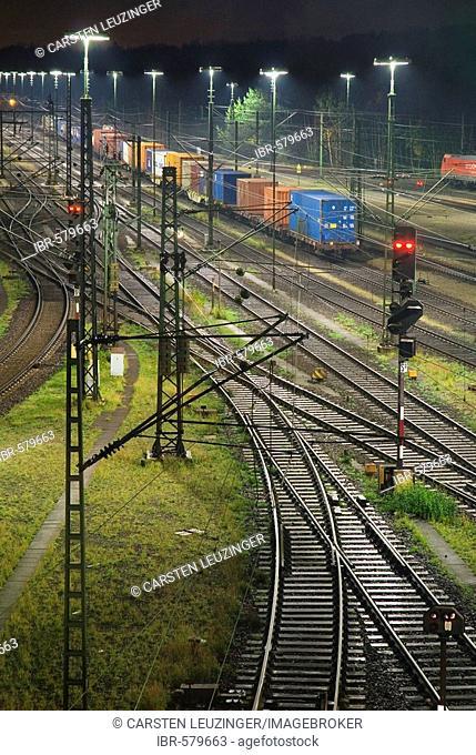 Railroad tracks at Maschen railroad shunting yard near Hamburg at night, Lower Saxony, Germany