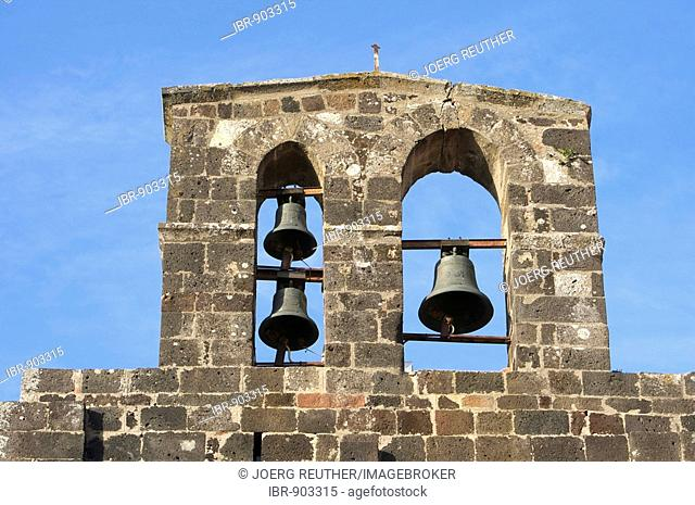 Bell tower of the Roman Church of Santa Maria del Regno in Ardara, Sardinia, Italy, Europe