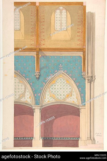 Elevation of Nave, Chapelle des Catéchismes, Ste Clothilde, Paris. Artist: Jules-Edmond-Charles Lachaise (French, died 1897); Artist: Eugène-Pierre Gourdet...
