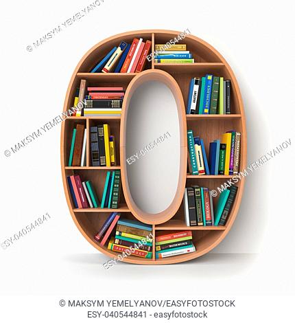 Number 0 zero. Alphabet in the form of shelves with books isolated on white. 3d illustration