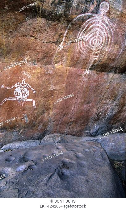 Aboriginal rock art, Aboriginal rock paintings near Cannon Hill, Kakadu National Park, Northern Territory, Australia