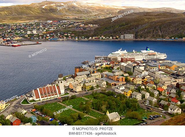 fishing boats and colorful houses in the harbor of Hammerfest in the Northern Fjordlands of Norway, Norway, Hammerfest