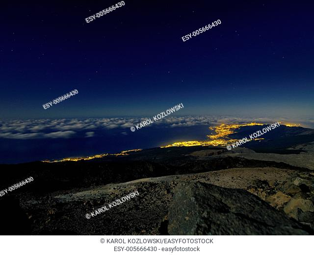 Night on Teide, view of Orotava, Canary Islands, Spain