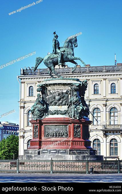 Russian Emperor Nicolas I bronze monument. St. Petersburg, Russia