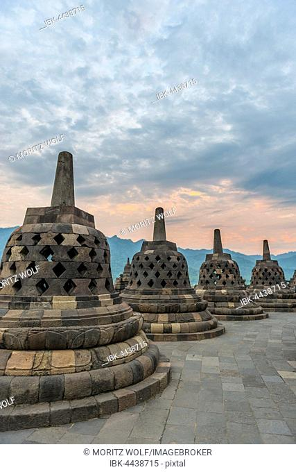 Borobudur temple, stupas, cloudy sky, Borobudur, Yogyakarta, Java, Indonesia