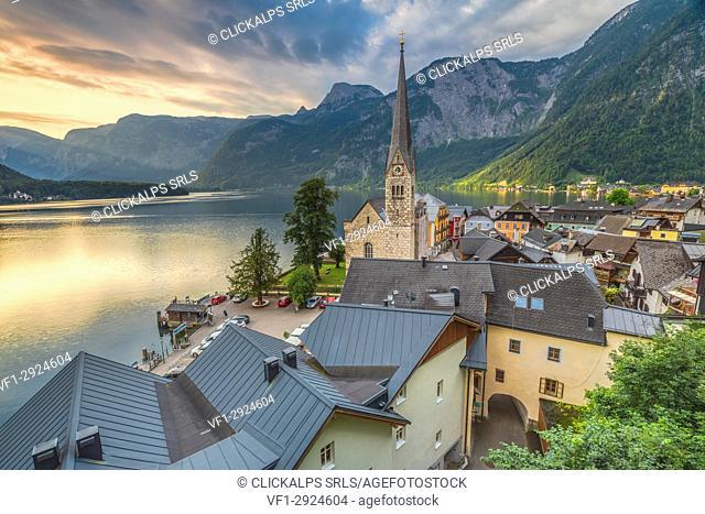 The austrian village of Hallstatt and the lake, Upper Austria, Salzkammergut region, Austria