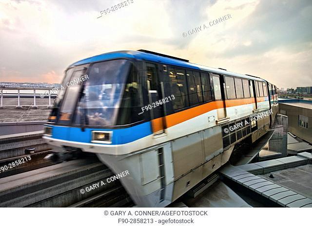 Tokyo Monorail train arrives at Haneda Airport in Tokyo, Japan