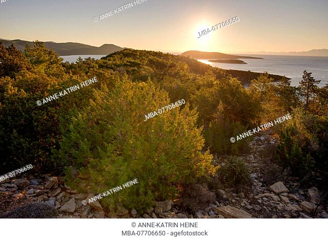 Overlooking turkish southern coastline with islands at sunrise, 20km southeast of Bodrum, Turkey