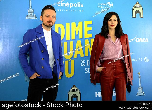 MEXICO CITY, MEXICO ñ DECEMBER 14: Jesus Zabala  and Ximena Romo during the press conference for the movie ëDime Cuando Tuí on December 14 2020 in Mexico City
