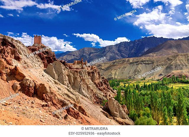 Ancient ruins at Basgo Monastery, Leh ladakh landscape, Jammu and Kashmir, India