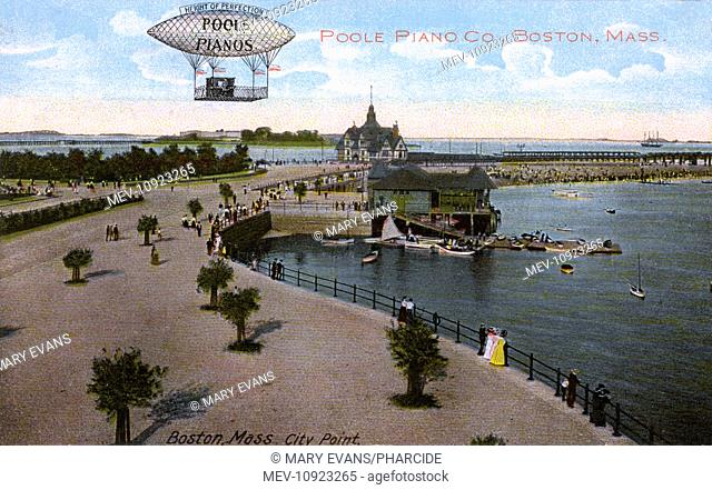 View of City Point, South Boston, Mass, USA, with an advertisement for Poole Pianos. Showing the park, the sea and the yacht club house