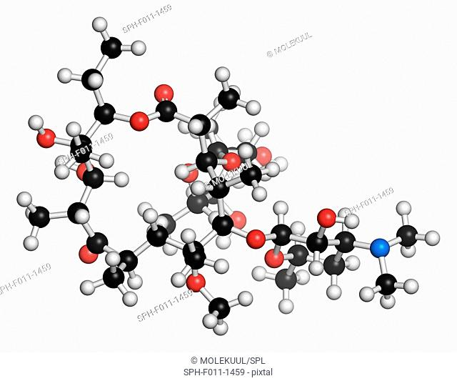 Clarithromycin antibiotic drug (macrolide class), chemical structure. Atoms are represented as spheres with conventional color coding: hydrogen (white)