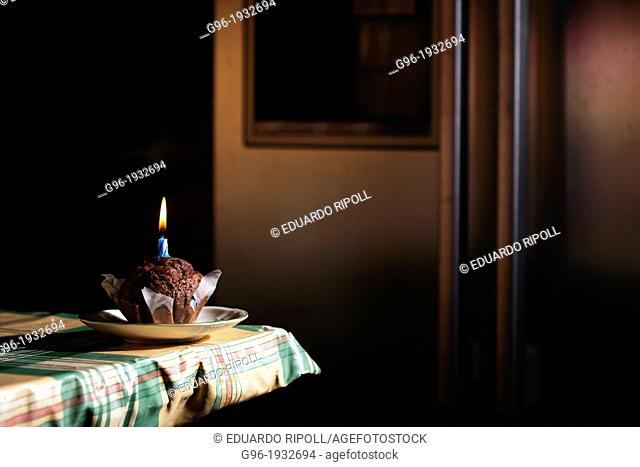 muffin with candle