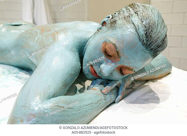 Colour energy, turquoise wrap body treatment in spa, Lierganes. Pas-Miera, Cantabria, Spain