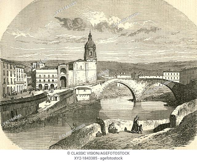 The old square and San Anton bridge, Bilbao, Spain in the late 19th century  From El Museo Popular published Madrid, 1889