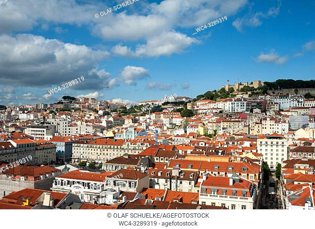 Lisbon, Portugal, Europe - An elevated view of the historic city district Baixa with the Castelo de Sao Jorge in the backdrop