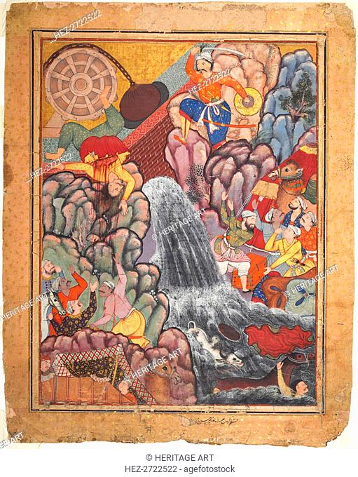 Alamshah cleaving asunder the chain of the wheel, from volume 11 of a Hamza-nama.., c. 1560s - 1570 Creator: Unknown
