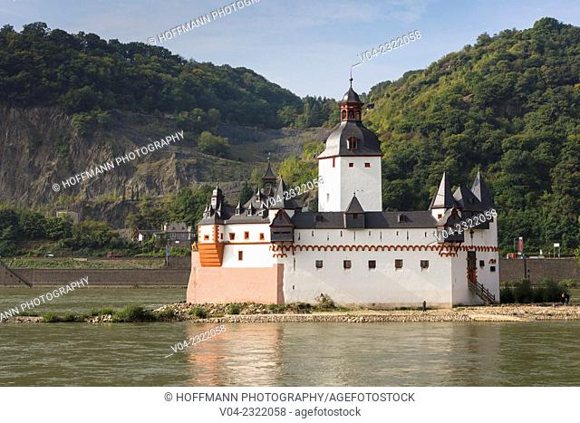 Pfalzgrafenstein Castle (Burg Pfalzgrafenstein), a former toll castle, in the Rhine river, Rhineland-Palatinate, Germany, Europe