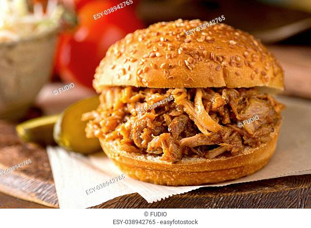A delicious slow roasted pulled pork sandwich on a Texas style bun