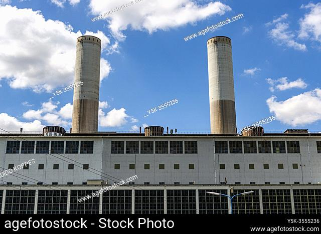 Grevenbroich-Frimmersdorf, Germany. The brauncoal fuelled Kraftwerk Frimmersdorf Electrical Powerplant is decommissioned and Idle
