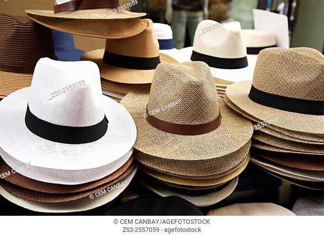 Panama hats for sale at the entrance of a shop, Palermo, Sicily, Italy, Europe