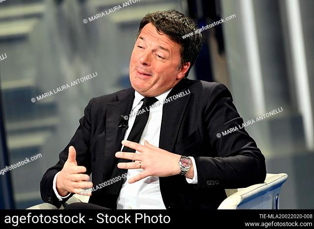 Matteo Renzi leader of Italia Viva party during the tv show 'Porta a porta', Rome, ITALY-19-02-2020