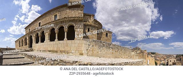 Our Lady of Rivero church in San Esteban de Gormaz village Soria province Castile Leon Spain on June 11, 2017. Panorama