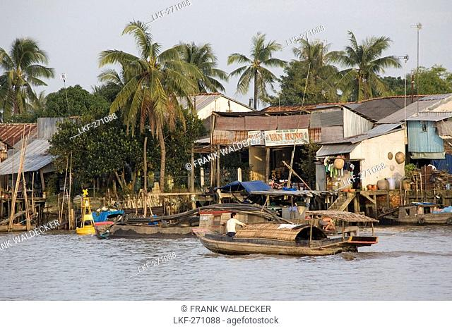 Boat on the Mekong River at Tra On, Mekong Delta, Can Tho Province, Vietnam, Asia