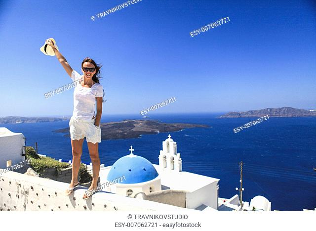 Blue famouse dome church at Firostefani on Santorini island in Greece