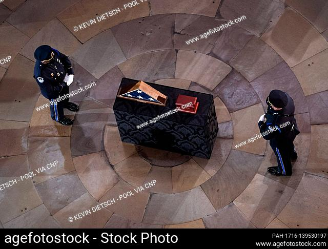 Capitol Hill Police Officer Brian Sicknick lies in honor in the Rotunda of the U.S. Capitol Building in Washington, DC on Tuesday, February 3, 2021