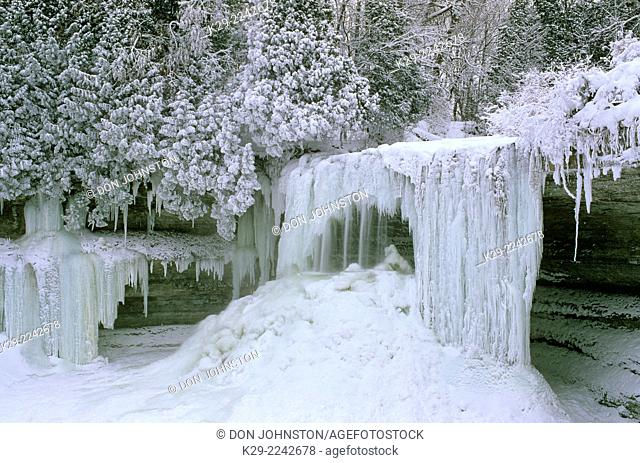 Bridal Veil Falls in winter, Kagawong, Ontario, Canada