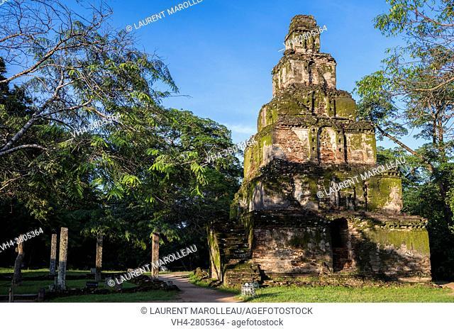 Square Pyramidal Tower Satmahal Prasada. The Quadrangle, Ancient City of Polonnaruwa, North Central Province, Sri Lanka, Asia
