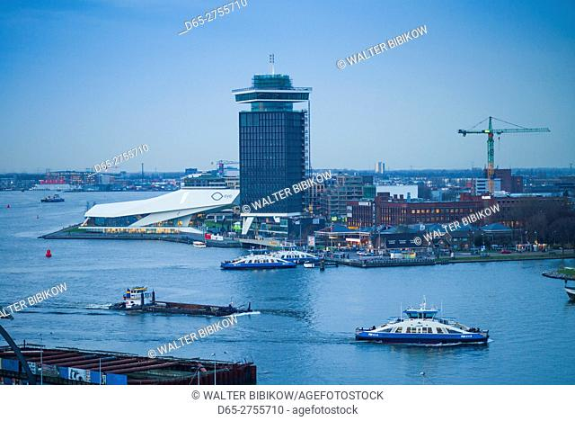 Netherlands, Amsterdam, elevated view of the EYE Film Institute and Twenty4 Amsterdam tower
