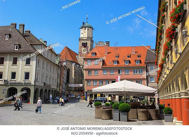 Memmigen, Allgau, market place, Market Square, Allgaeu region, Swabia, Germany, Bavaria,