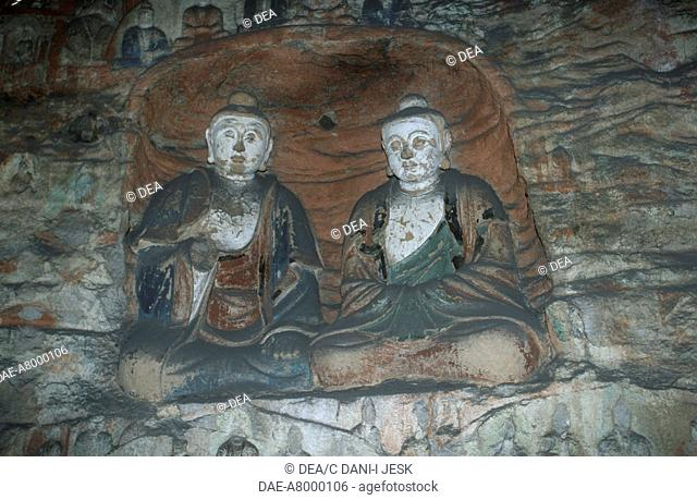 China - Shanxi province - Surroundings of Datong - Yungang Grottoes (UNESCO World Heritage List, 2001), 5th century. Sandstone statues of Buddha