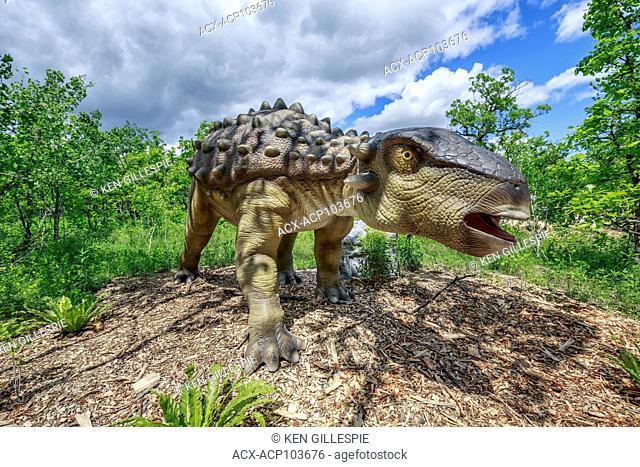 Dyoplosaurus at Dinosaurs Alive, life-size animatronic dinosaur, Assiniboine Park Zoo, Winnipeg, Manitoba, Canada