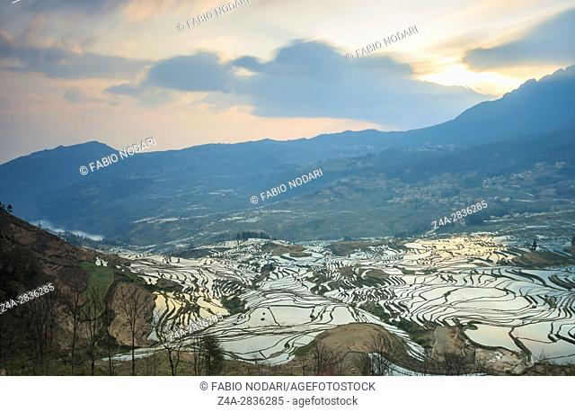 Sunrise over YuanYang rice terraces in Yunnan, China, one of the latest UNESCO World Heritage Sites