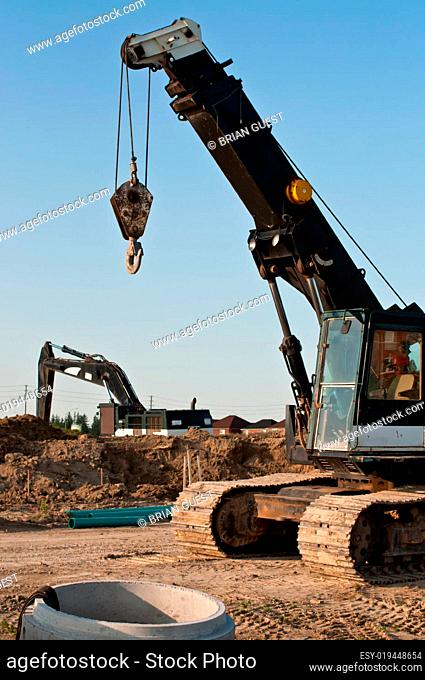 Construction Equipment at a Building Site