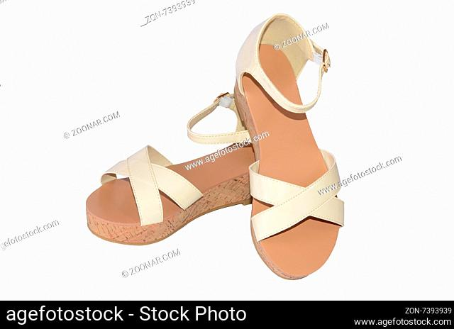 Women#39;s summer shoes isolated on white background