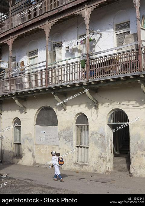 Entance to the exclusive Mombasa Club in the old town in Mombasa, Kenya