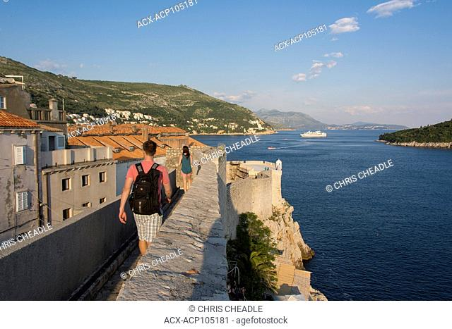 View from ramparts walkway, Old Town, Dubrovnik, Croatia
