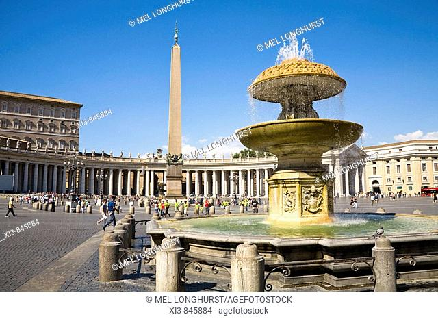 Obelisk and fountain in Saint Peter's Square, Piazza San Pietro, Vatican City, Rome, Italy