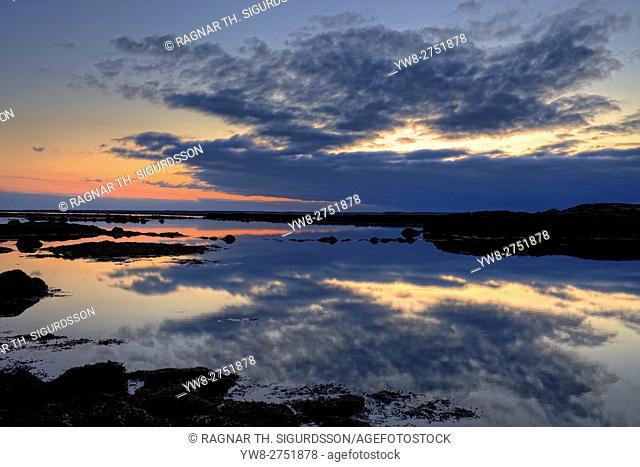 Sunset and coastline, Reykjanes Peninsula, Iceland