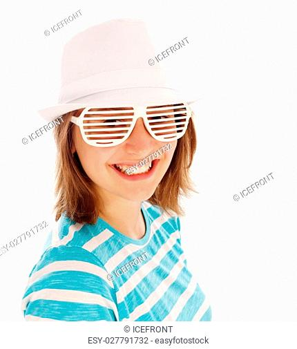 Cute teen girl wearing hat and extreme sunglasses