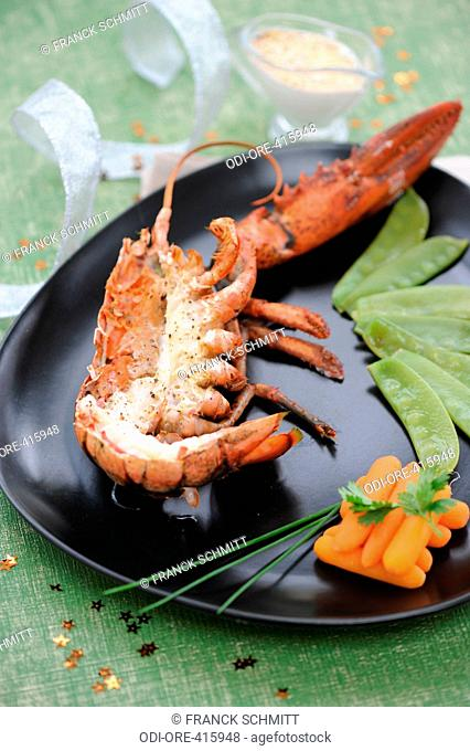 Lobster cooked with salted butter