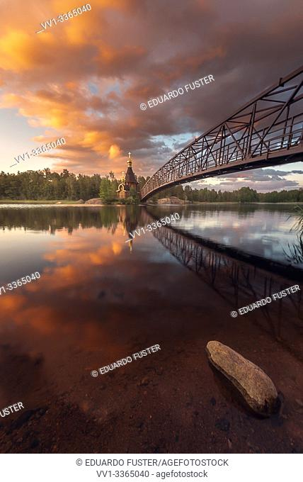 Church of Apostle Andrew the First-Called on the Vuoksa River during sunset. Leningrad region, Russia
