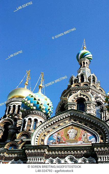 The Resurrection Church of Jesus Christ, Saint-Petersburg, (St. Petersburg) Russia. This Russian style church is also called 'The Spilled-Blood Church' and...