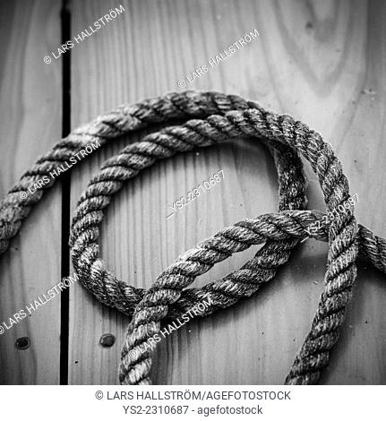 Close up of rope on boat deck