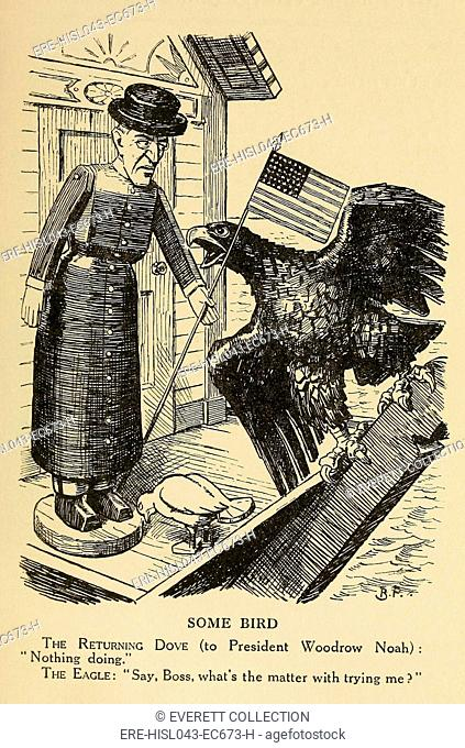 SOME BIRD, political cartoon, c. 1915-1916 from, British humor magazine, PUNCH. U.S. President Woodrow Wilson is depicted as a wooden figure